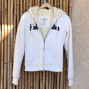 HOLLISTER White Sherpa Hoodie Jacket Med/Large